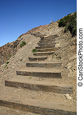 Stairs to the Sky - Steep trail ascending Flattop Mountain...