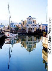 harbour #13 - Boats and big house at Knysna Harbour, South...