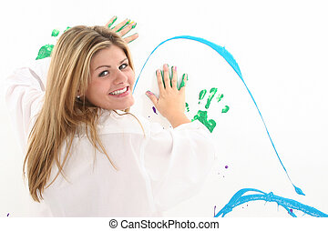 Woman Teen Painting - Beautiful young woman in white...