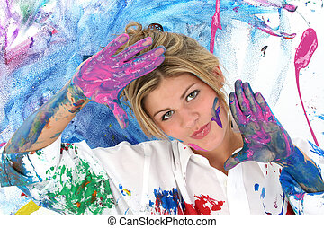 Woman Teen Painting - Beautiful young woman covered in paint...