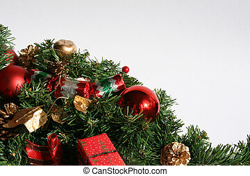 christmas greenery and baubles - christmas greenery with red...