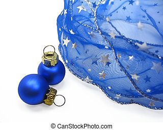 Blue christmas ornaments - Blue ribbon with silver stars and...