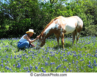 Bluebonnet Lady and