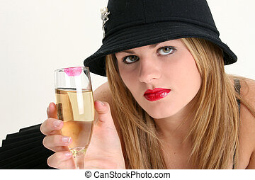 Woman Champagne - Beautiful Young Woman with Champagne Glass...