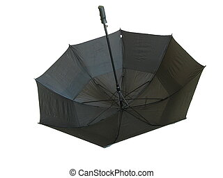 Black Umbrella - Shot of an upside down black umbrella, over...