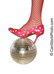 Party time - Stylish football - feminine leg on a mirror...