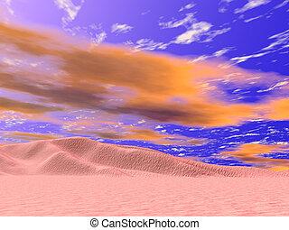 Desert Red Skies - Red cloudy skies in the desert