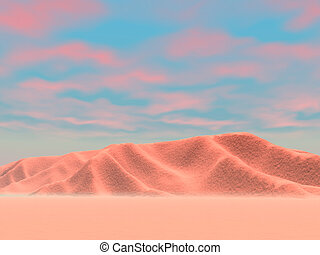 Desert Hills - Red skies in desert hills