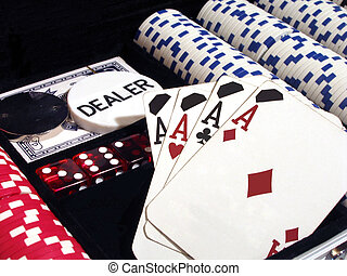 Four of a Kind - Poker set with chips, dice and cards