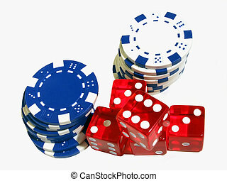 Dice and Chips - Red dice and blue and white poker chips