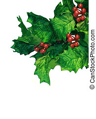 Holly faux sprig on white background