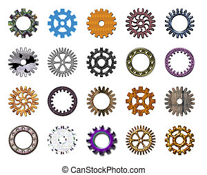 Gears collection 4 Isolated