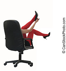 Red stockings - Woman in the red stockings in the office...