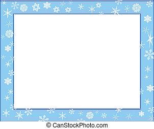 frame snowflake - Blue frame on snowflake theme