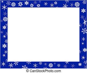 Blue frame on snowflake theme