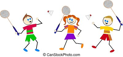 badminton kids - kids playing sports