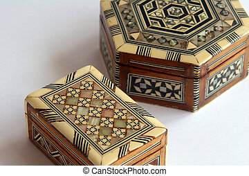 Marquetry boxes - A pair of Marquetry boxes
