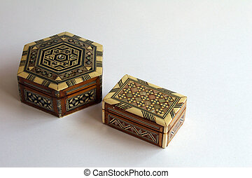 Marquetry trinket boxes - Pair of old marquetry trinket...