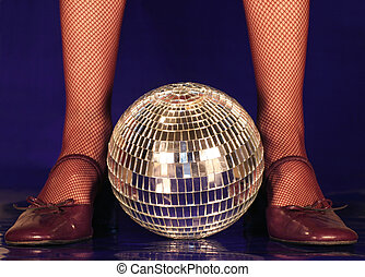 Lets dance - Old dance shoes a mirror ball