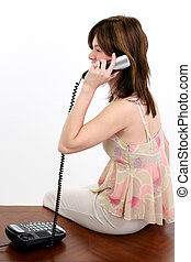 Woman Hispanic Phone - Beautiful young Hispanic woman...