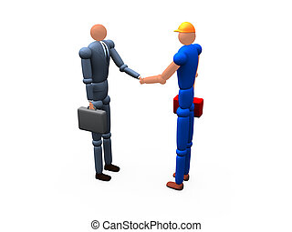 Alliance - 2d Businessman Shaking Hands With a Worker
