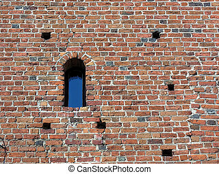 Brick wall - window - Old brick wall with window - different...