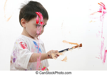 Boy Child Painting - Adorable Toddler Boy Painting On Glass....