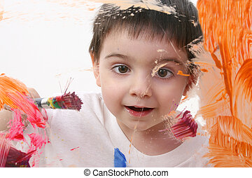 Toddler Boy Painting - Adorable Toddler Boy Painting On...