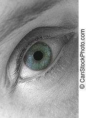 Blue Eye, Macro - Selectively coloured close-up of a womans...