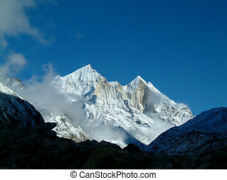 himalaya mountain - pristine view over mount bhagirathi,...