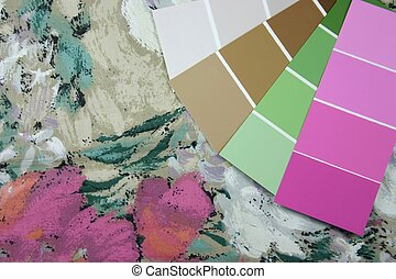 Design Swatches - Curtain fabric and paint swatches for...