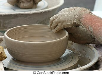 Pottery Bowl - Potter shaping clay bowl on wheel