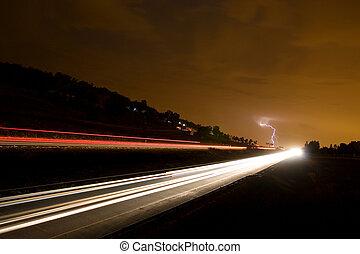 nightlife #5 - highway and lightning