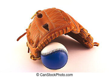 baseball and glove - baseball glove over a baseball