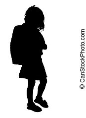 Silhouette Girl - Silhouette over white with clipping path...