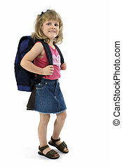 School Girl with Backpack - Small school girl with backpack...