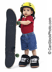 Boy Child Skateboard - Small Boy with Large Helmet Shoes and...