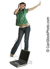 Teen Girl Dancing with Laptop and Headphones Casual clothes...