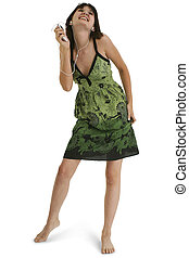 Teen Girl Dancing - Full body teen girl in green summer...