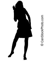 Silhouette With Clipping Path Teen Dancing To Music