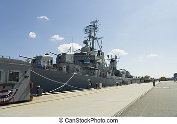 Navy destroyer - Tourists visiting the WWII Navy destroyer...