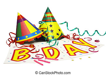 Birthday! - Party hats with streamers, star confetti, a...