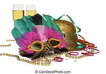 A Great Party! - A Mask, A Gold Glitter Hat, Gold Beads,...
