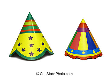 Party Hats - Colourful party hats isolated on white...