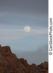Moonrise at Indian Cove in Joshua Tree National Park.