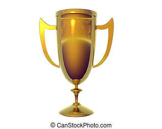 Solid Gold Trophy - Isolated Solid Gold Trophy