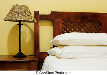 interior #6 - Interior of room with bedside lamps, wooden...