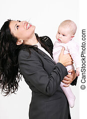 Cheerful Mother and Baby - Working woman and baby - vertical