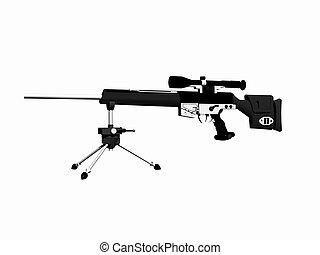 HK-PSQ-1 gun - 3D render, illustration of a gun High...