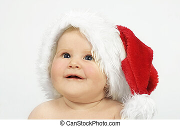 Santas lil helper - Cute baby in a Santa Hat on white